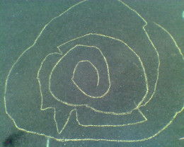 My daughter's chalk rendering of a labyrinth