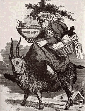 Father Christmas on  a goat