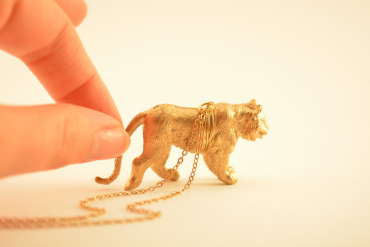 Metallic gold lion necklace