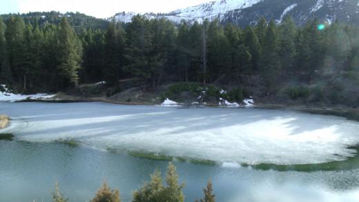 Beaver Ponds frozen in April