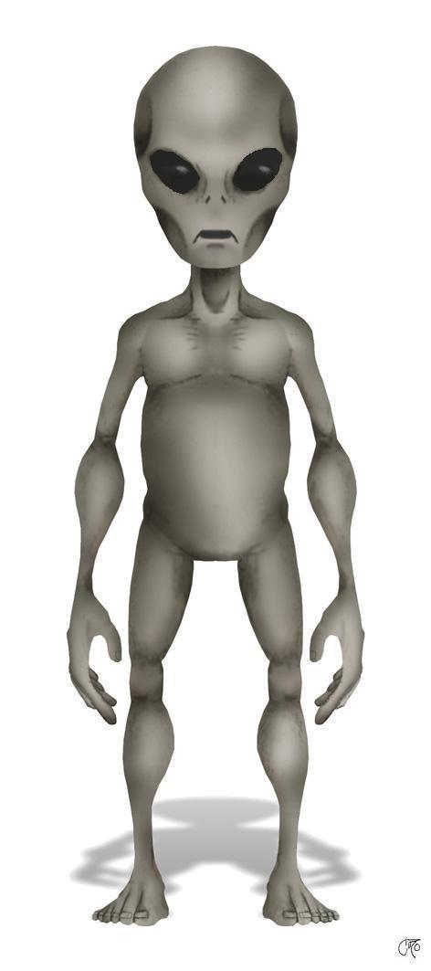 "Typical appearance of the ""Gray"" type alien. Short, gray-colored, physically frail, large black eyes, large brain."