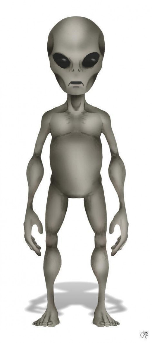 """Typical appearance of the """"Gray"""" type alien. Short, gray-colored, physically frail, large black eyes, large brain."""