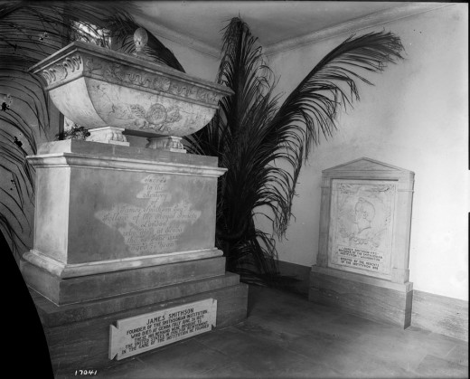 "1905. Crypt containing the body of founder James Smithson in the North Tower entrance of the Smithsonian Institution Building or ""Castle."""