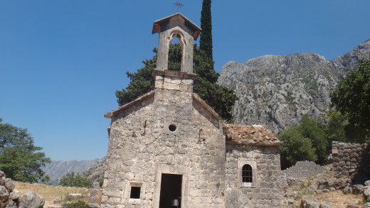 An abandoned church hidden in the mountains in Kotor, Montenegro. Inside the paint was faded, the plaster falling and someone was storing a wheelbarrow. And there were three tiny bats hanging from the ceiling!