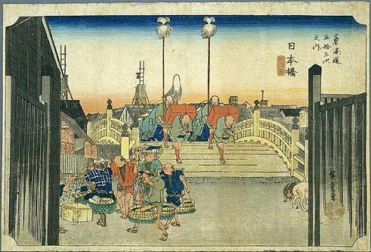 Artist's impression of Nihonbashi in Edo / old Tokyo