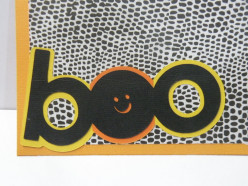 Boo phrase adhered to bottom of card