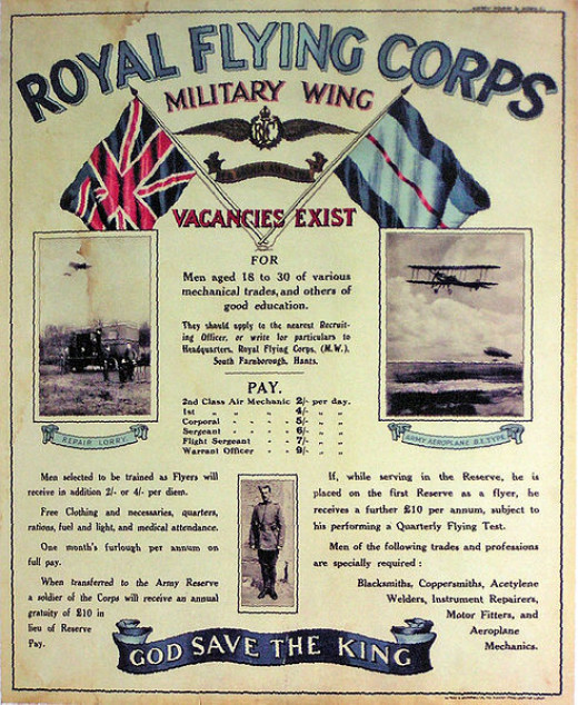 Royal Flying Corps Military Wing Recruitment Poster 1913
