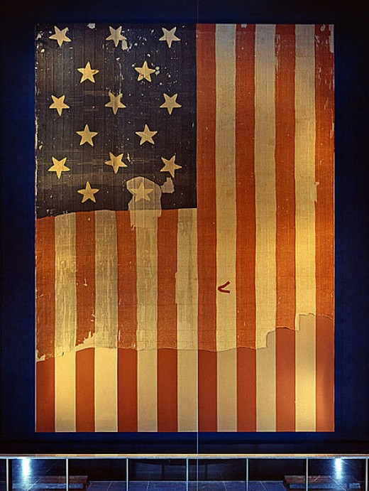 "This is the actual flag that inspired the song ""The Star Spangled Banner"".  It flew above Fort McHenry in the 1814 Battle of Baltimore."