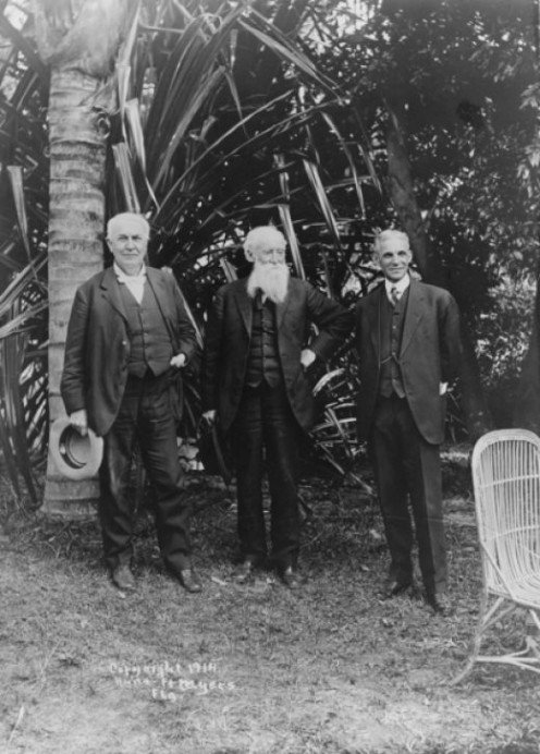 Thomas Edison, John Burroughs, and Henry Ford at the winter home.