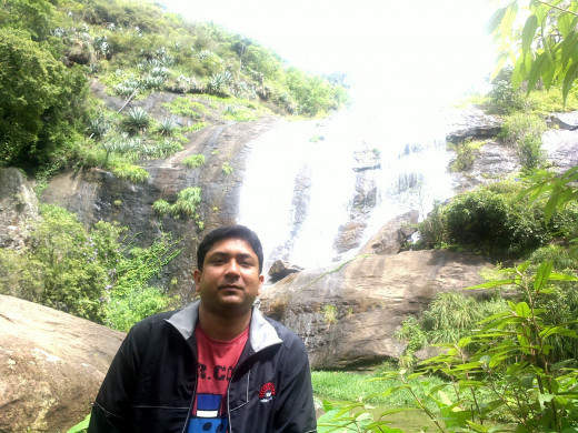 At the waterfall en-route Ooty