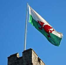 The Welsh flag so proudly waves.