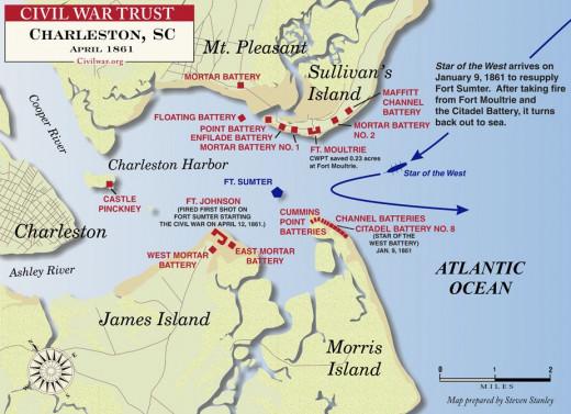 Civil War Trust map of Fort Sumter and Charleston Harbor.