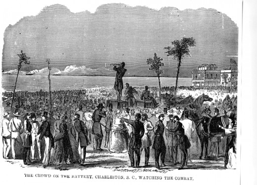 Charleston civilians view the barrage from the beachfront