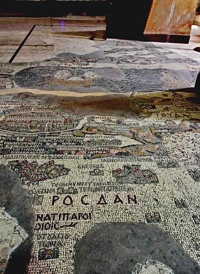 Mosaic map of Holy land on the cathedral floor