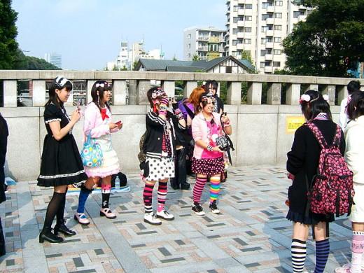 Girls cosplaying in Harajuku
