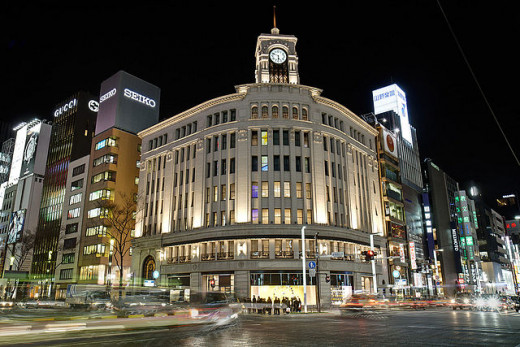 Ginza Wako departmental store in the heart of Ginza