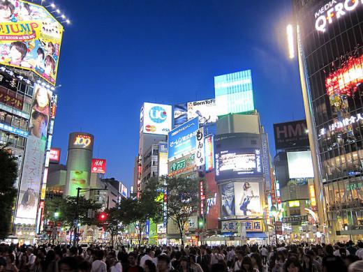 The infamous Shibuya Scramble outside Shibuya Station
