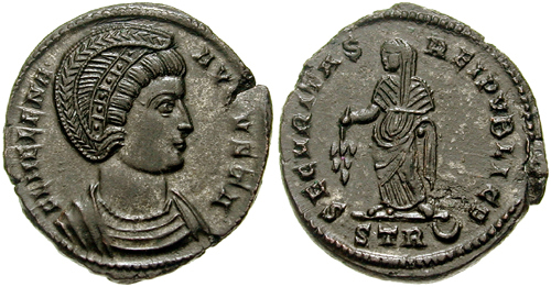 Coins of the Eastern Roman empire showing the empress Helena