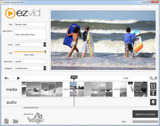 Screenshot of Ezvid's video editing interface.