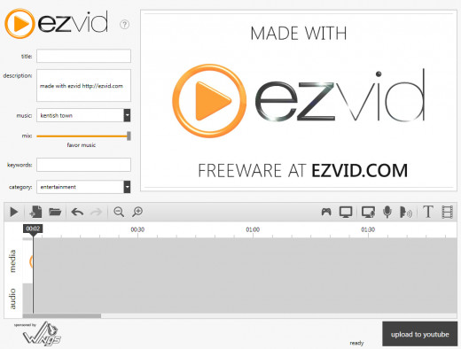 Screenshot of an almost empty project in Ezvid.