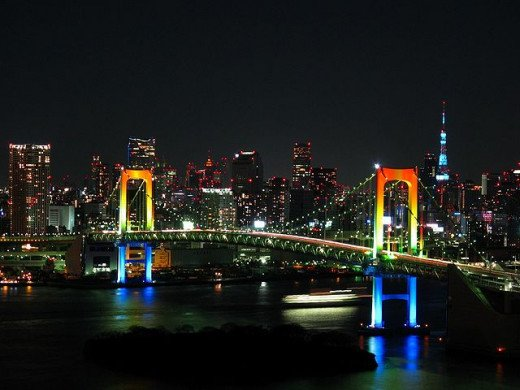 Nighttime view of the Rainbow Bridge connected Odaiba to mainland Tokyo