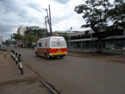 An ambulance rushing to the scene of the Westgate terror attack on the afternoon of 21st September 2013.