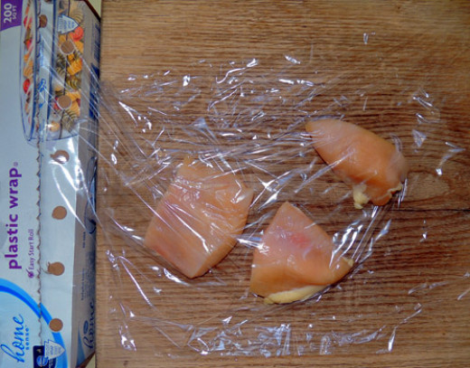 lay plastic wrap flat, place chicken breasts, cover with 2nd sheet of plastic wrap