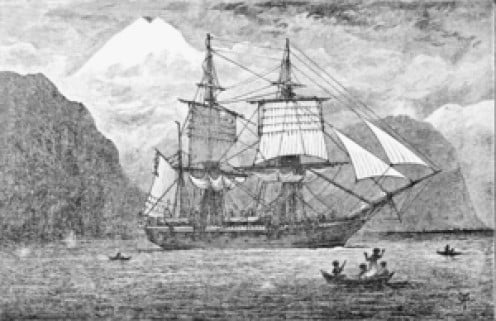 This is the HMS Beagle in the Straits of Magellan, pencil sketch circa 1900.