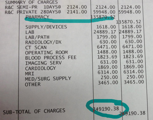 A typical US Hospital Stay Bill