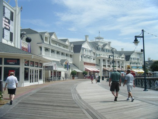 The Boardwalk is unique in that it has a lot of shops, cafes, and nightlife associated with the resort.