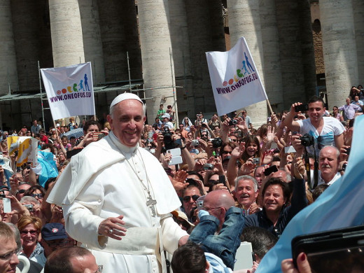 Pope Francis with the people in St. Peter's Square