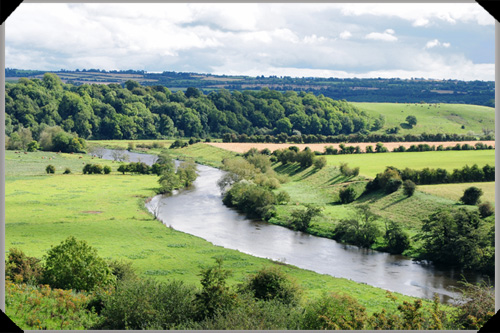 The course of the River Boyne in County Kildare, the river named after.Boann..