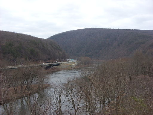 A view of Delaware Water Gap where the AT crosses a bridge into New Jersey.