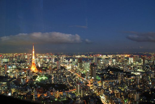 Panoramic view of Tokyo in the evening