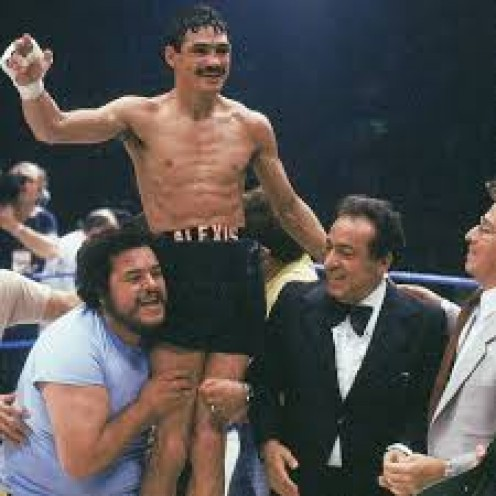 Alexis Arguello being hoisted into the air after another victory. He was a brutal puncher at featherweight.