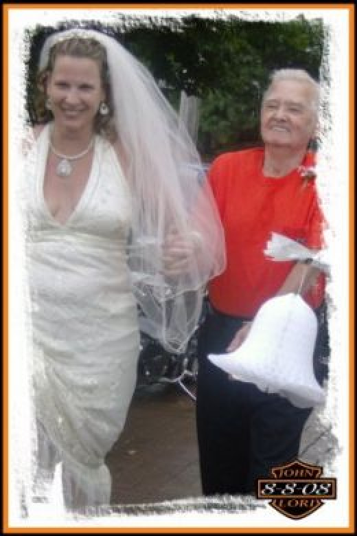 walking my wife down the isle always asking why he was wearing orange tshirt
