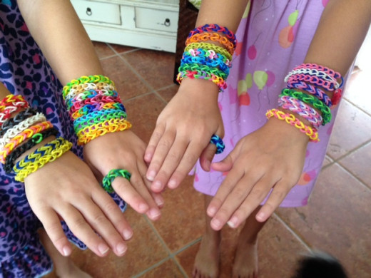 Rainbow Loom bracelets and rings.