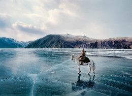 Lake Baikal during winter is frozen and mirror-like frozen floor is really amazing...