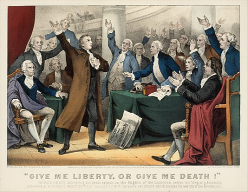 Patrick Henry delivering one of the  most important speeches in American history.