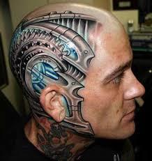 Bio-Mechanical Head Tattoo Design