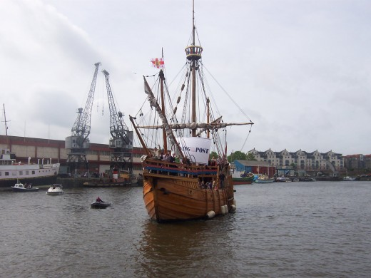 The replica of John Cabot's Matthew within Bristol floating harbour.
