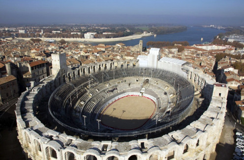 """Roman amphitheater- similar to the Ariel view of """"Sea of Galilee"""" the arena being the lake and the gallery seats being the terressed hills of Capernaum. Internet download"""