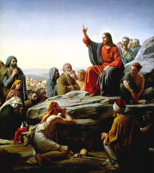 "Jesus delivering the ""Sermon on the mount"" an internet download"