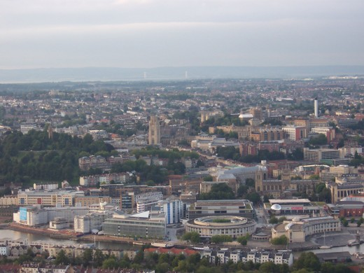 An aerial view of the ciy of Bristol.  The harbourside area where the event takes place can be seen in the foreground.
