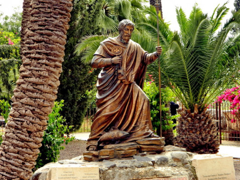 "Peter statue near the ""house of Peter"" - Capernaum"