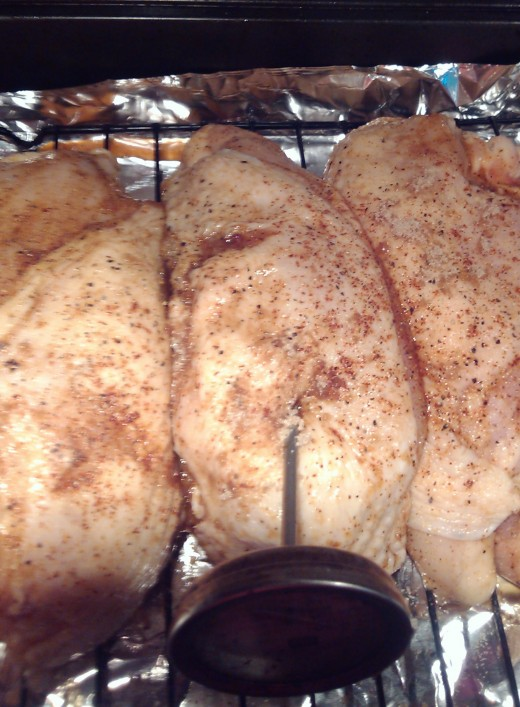 Chicken Breasts ready to go in the oven... these gals are in there a little snug but turned out yummy. Gramps insists on a meat thermometer. Don't tell him that I ignore it!