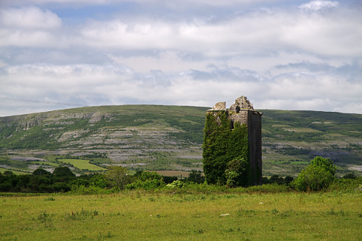 Cahilleran Castle in Connacht (Connaught) dates back to Norman times, the overgrown keep lets it sit well against the scenery