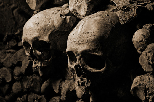 Display of skulls showing the cult of head collection still rife in the early days of the Gaels
