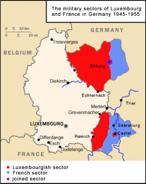 Map showing the military sectors of Luxembourg and France in Germany after WWII between 1945 and 1955.