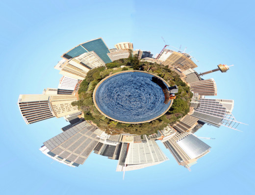 Sydney planet made with the polar co-ordinates filter.